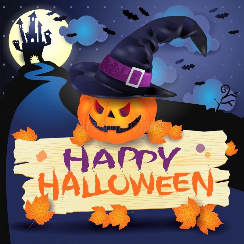 Fondo di Halloween con la zucca, il segno ed il cappello illustrazione di stock