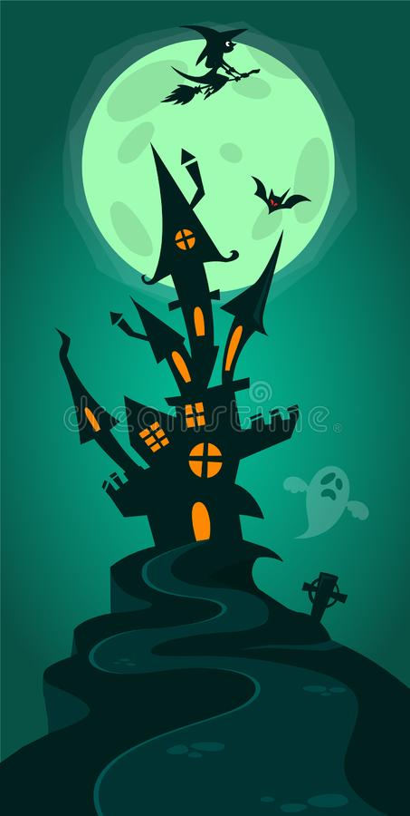 Fondo di Halloween con le tombe, gli alberi, i pipistrelli, le pietre tombali, il gravey e la casa frequentata illustrazione vettoriale