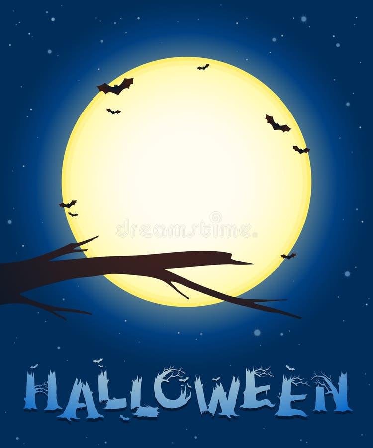 Fondo di Halloween con una luna piena ed i pipistrelli royalty illustrazione gratis