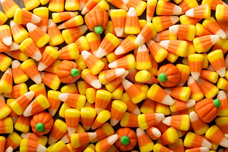Fondo di Halloween del mais e della zucca di Candy immagini stock libere da diritti