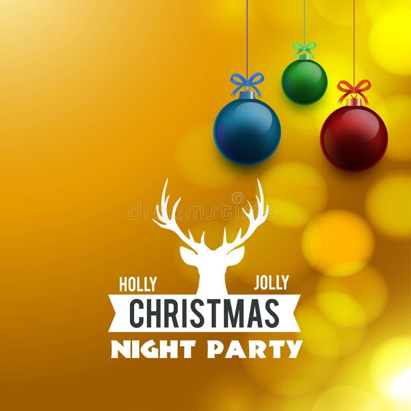 Fondo di Holly Jolly Christmas Night Party illustrazione vettoriale