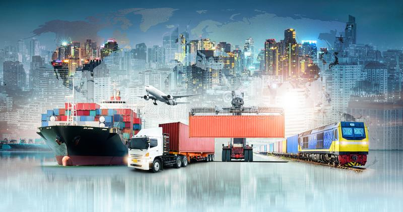 Fondo di importazioni-esportazioni di logistica di affari globali e nave del trasporto del carico del contenitore illustrazione di stock