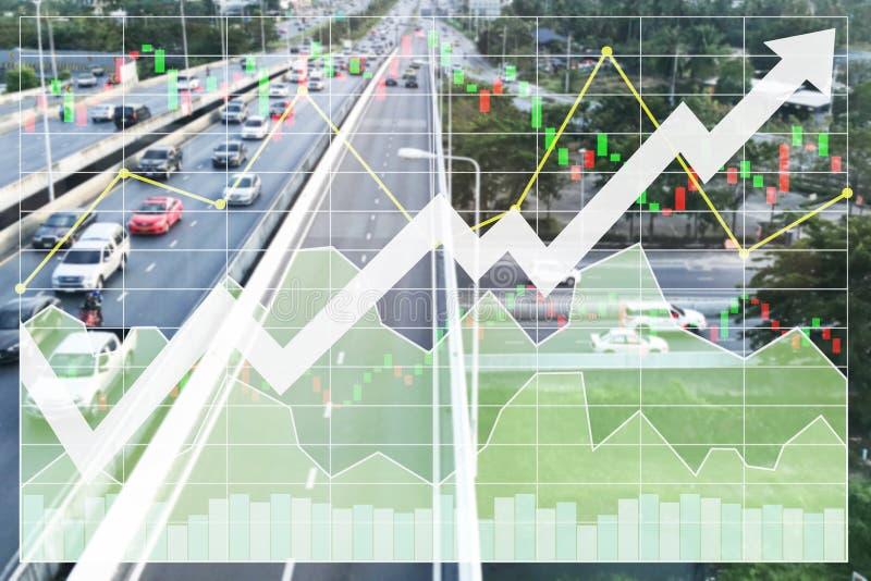 Fondo di indice di borsa di finanza di affari dell'investimento su più infrest immagini stock