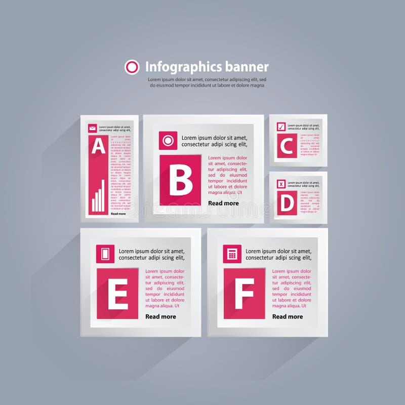 Fondo di Infographics con i cubi e le lettere - rosa e bianco illustrazione di stock