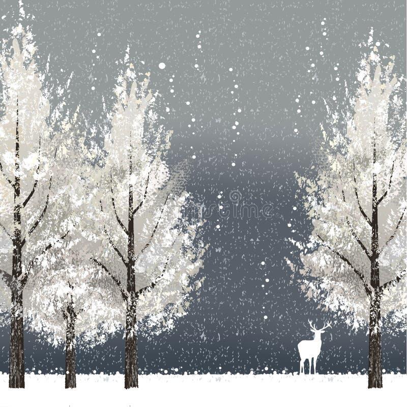 Fondo di inverno alla notte con gli alberi e la renna bianchi royalty illustrazione gratis
