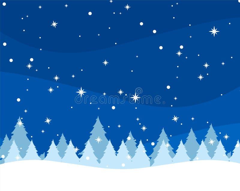 Fondo di inverno con gli abeti ed i fiocchi di neve illustrazione di stock
