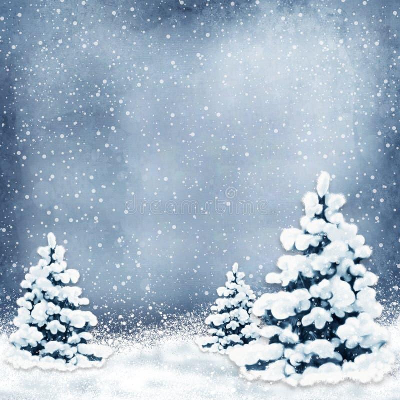 Fondo di inverno con gli alberi di Natale e la neve illustrazione vettoriale