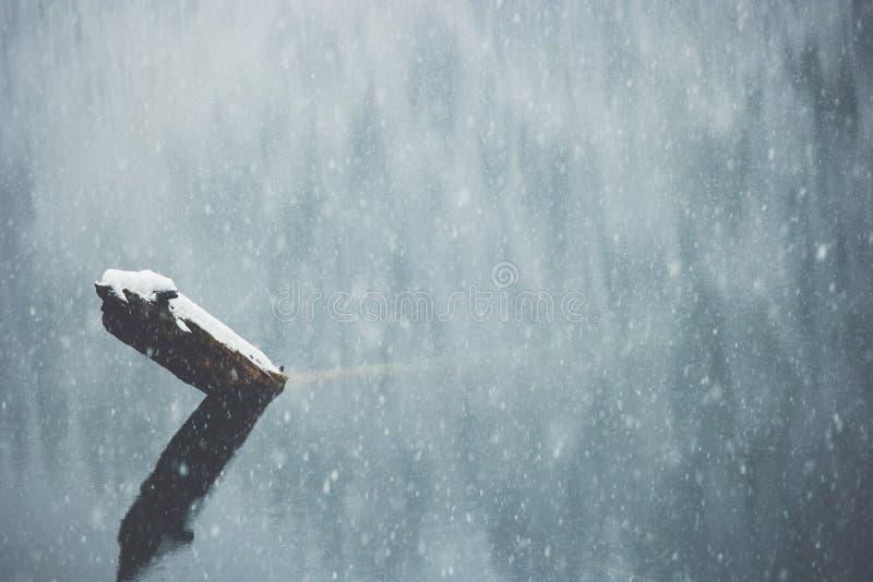 Fondo di inverno con i colori lunatici del lago e della neve fotografie stock libere da diritti