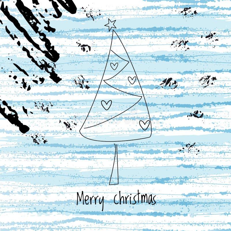 Fondo di inverno di Natale ed albero astratto di natale royalty illustrazione gratis