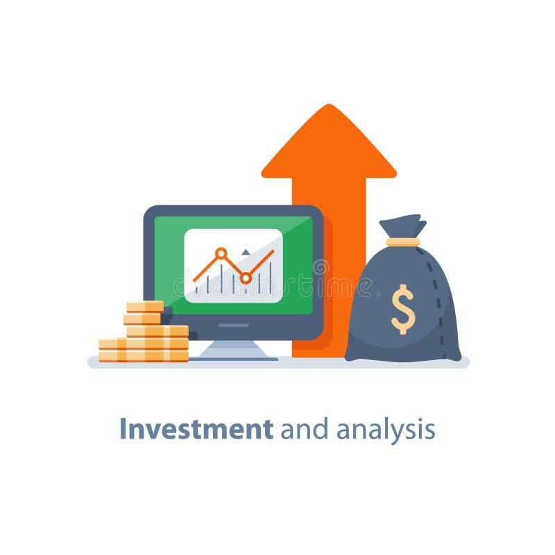 Fondo di investimento mutualistico, gestione di fiducia, strategia di investimento, analisi finanziaria, hedge fund, mercato azio illustrazione di stock