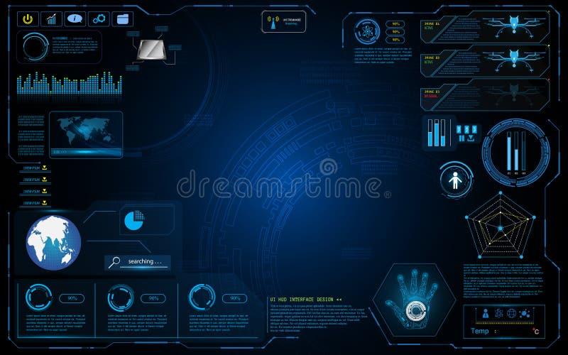 Fondo di lavoro grafico di concetto di tecnologia dell'innovazione di progettazione di sistema dell'interfaccia di Hud illustrazione di stock