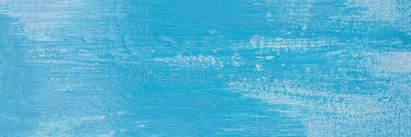 Fondo di legno astratto blu-chiaro di struttura Scrittorio di legno luminoso con la pelatura della pittura Copi lo spazio immagine stock