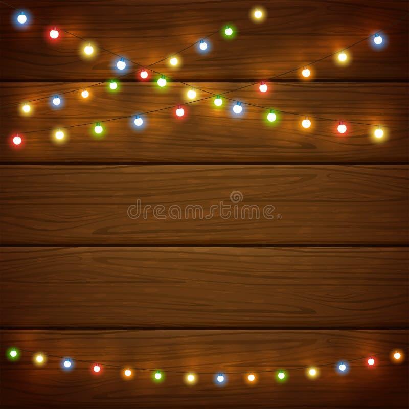 Fondo di legno con le luci di Natale variopinte illustrazione vettoriale