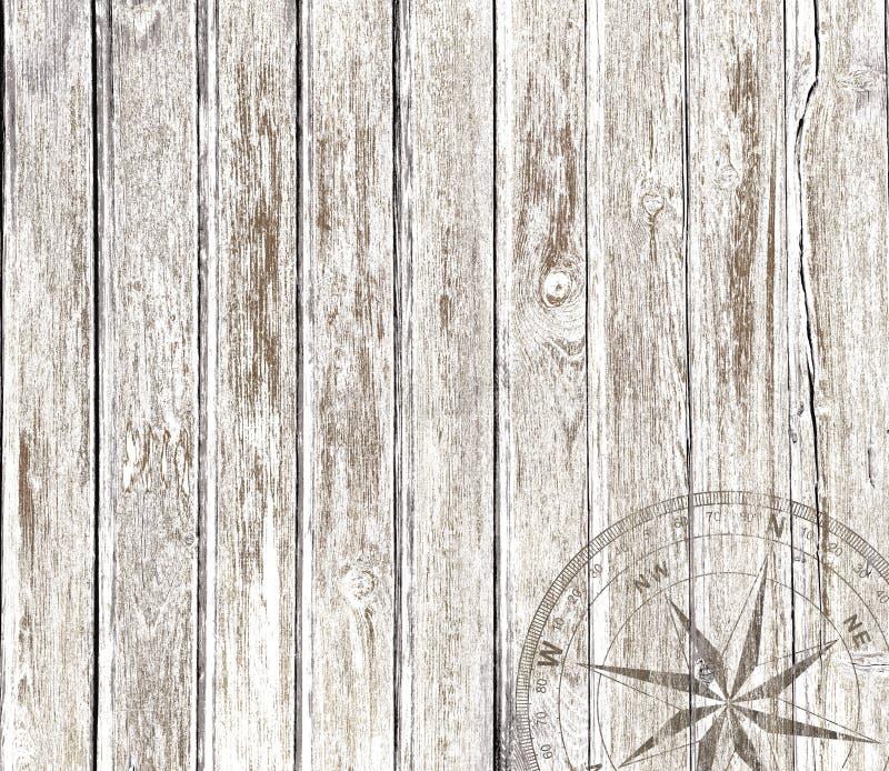 Fondo di legno d'annata con la bussola immagini stock