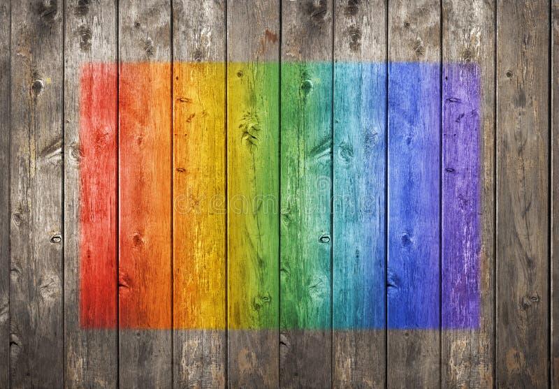 Fondo di legno dei graffiti dell'arcobaleno fotografia stock