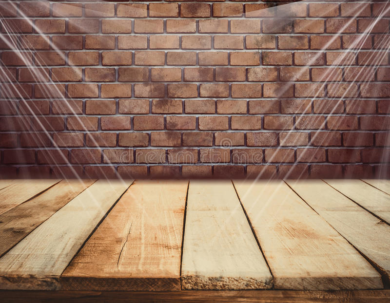 Fondo di legno del muro di mattoni e del pavimento fotografia stock
