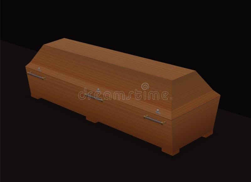 Fondo di legno del nero della bara del cofanetto royalty illustrazione gratis