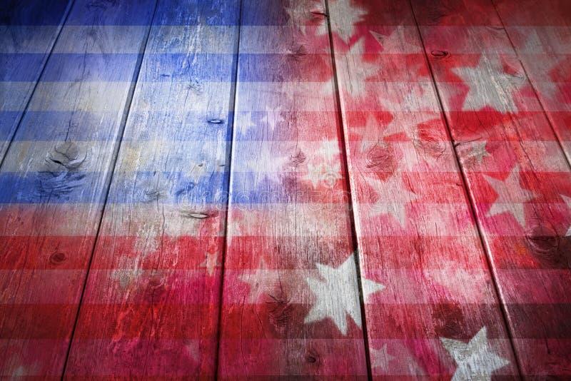 Fondo di legno della bandiera americana fotografia stock libera da diritti