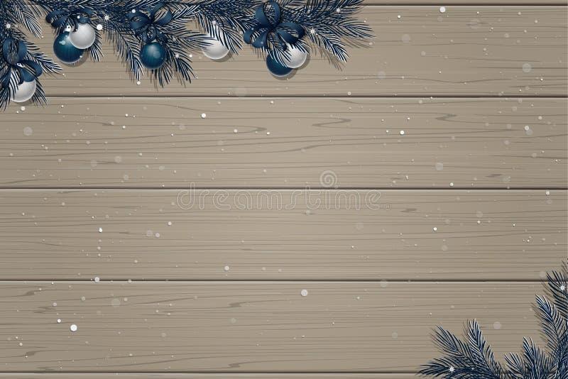 Fondo di legno di inverno illustrazione di stock