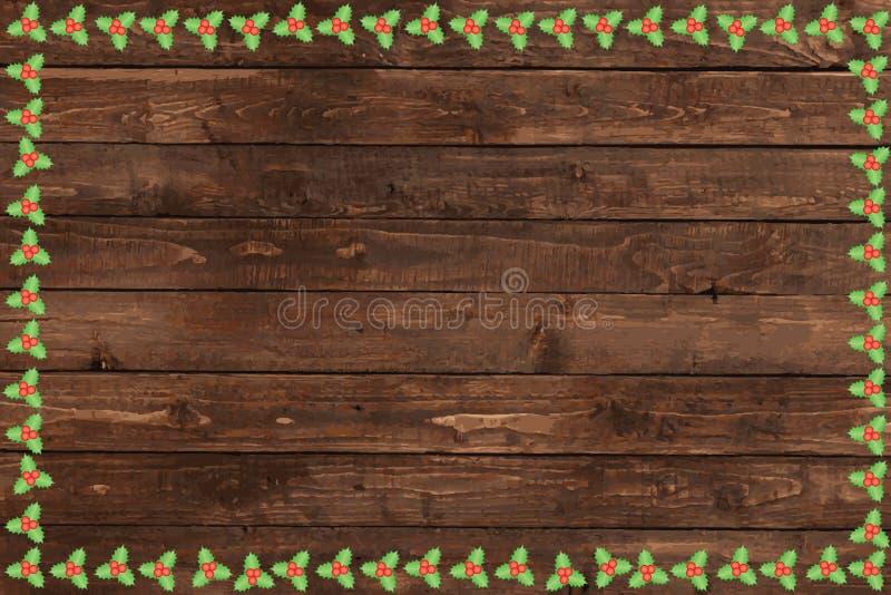 Fondo di legno di Natale illustrazione vettoriale