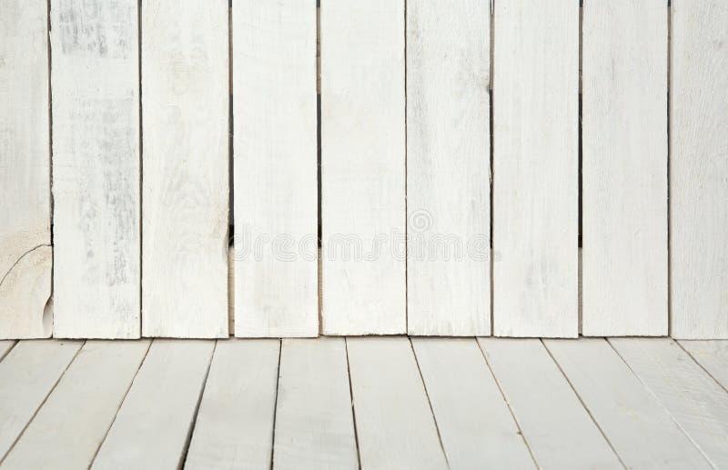 Fondo di legno di struttura parete e pavimento di legno bianchi fotografia stock