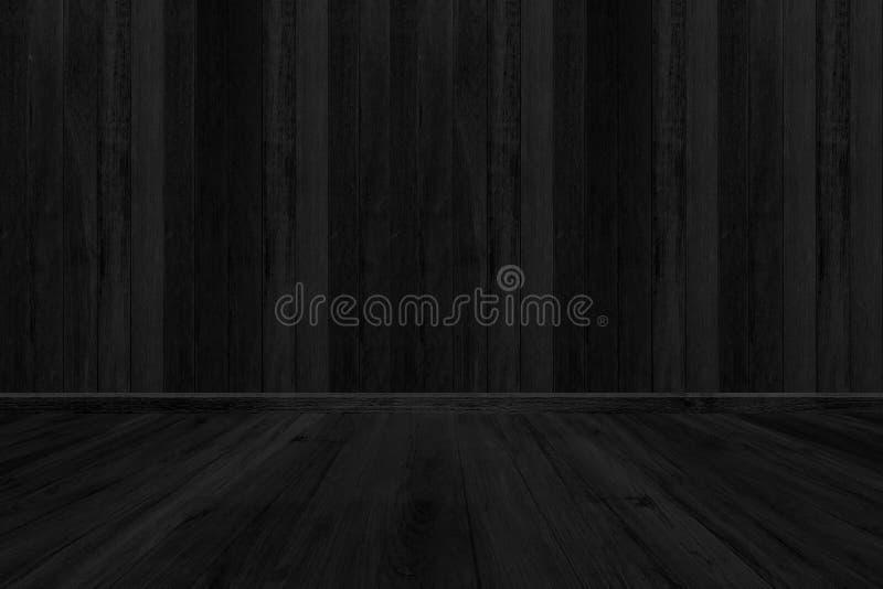 Fondo di legno nero di struttura, spazio in bianco del pavimento della stanza per progettazione fotografie stock
