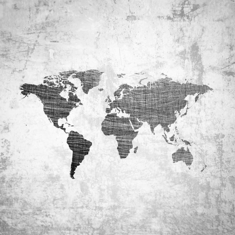 Fondo di lerciume con la mappa di mondo royalty illustrazione gratis