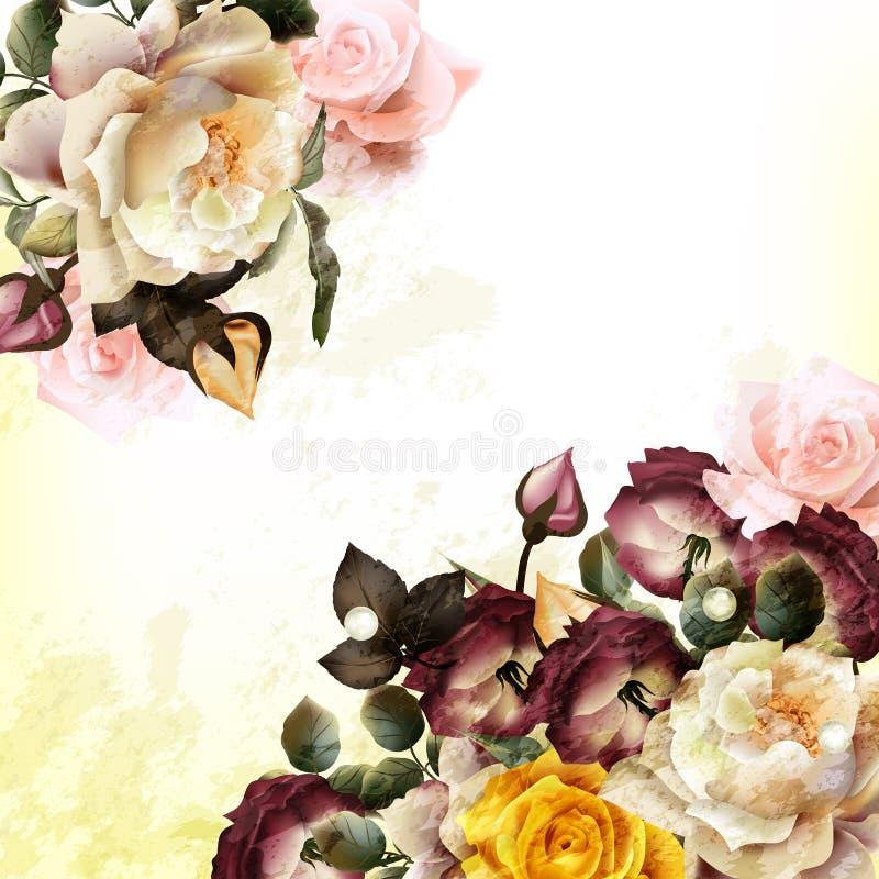 Fondo di lerciume con le rose realistiche di vettore royalty illustrazione gratis