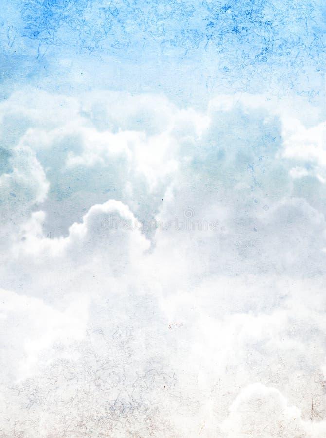 Fondo di lerciume con struttura di carta e le nuvole fotografie stock libere da diritti