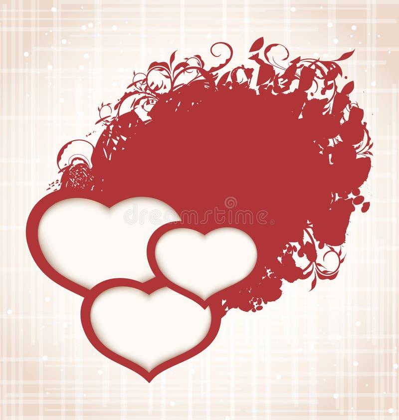 Fondo di lerciume del giorno del biglietto di S. Valentino con i cuori illustrazione di stock