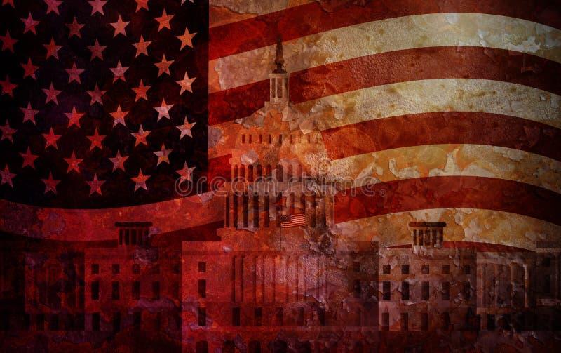 Fondo di lerciume della bandiera degli Stati Uniti del Campidoglio del Washington DC illustrazione vettoriale