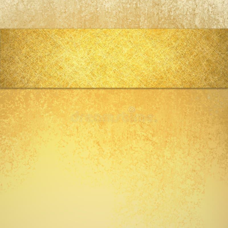 Fondo di lusso elegante dell'oro con la banda del nastro su struttura superiore dell'annata e del confine immagini stock