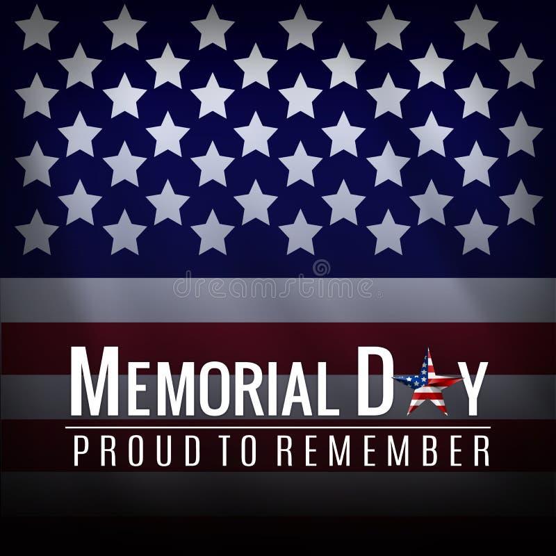 Fondo di Memorial Day con la bandiera nazionale americana, stelle e strisce Modello per l'invito di Memorial Day, saluto illustrazione di stock