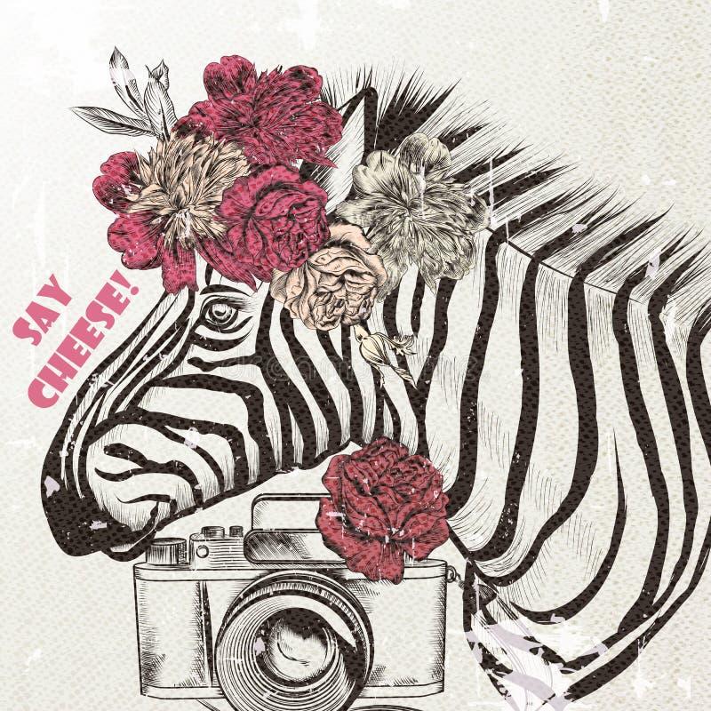 Fondo di modo con il fondo d'avanguardia della zebra sveglia illustrazione vettoriale
