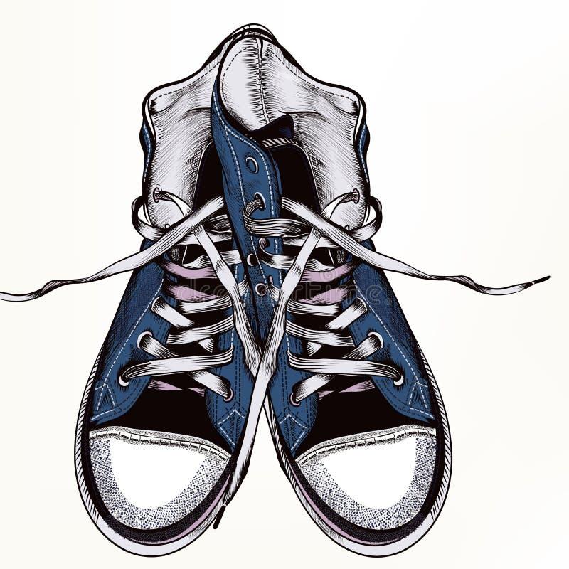 Fondo di modo con le scarpe da tennis degli stivali di sport illustrazione di stock