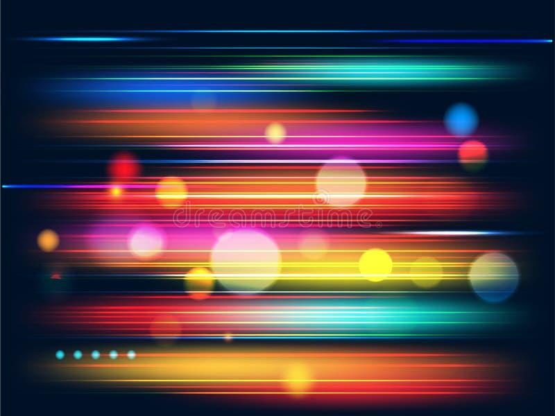 Fondo di moto di velocità con i raggi luminosi variopinti e l'effetto del bokeh illustrazione vettoriale
