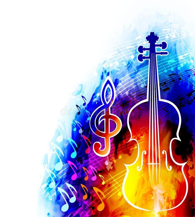 Fondo di musica classica con il violino e le note musicali illustrazione di stock