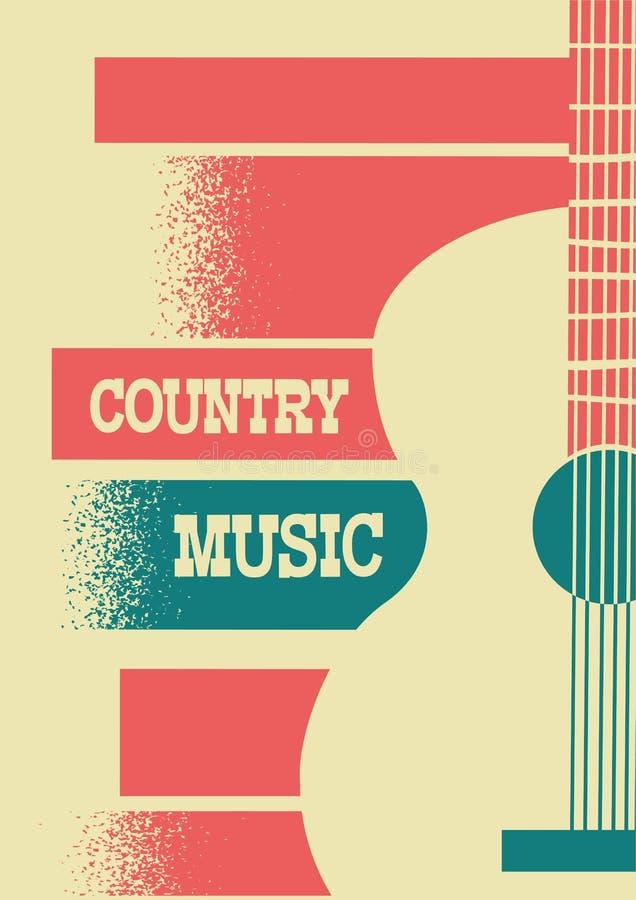 Fondo di musica country con la chitarra acustica dello strumento musicale illustrazione di stock