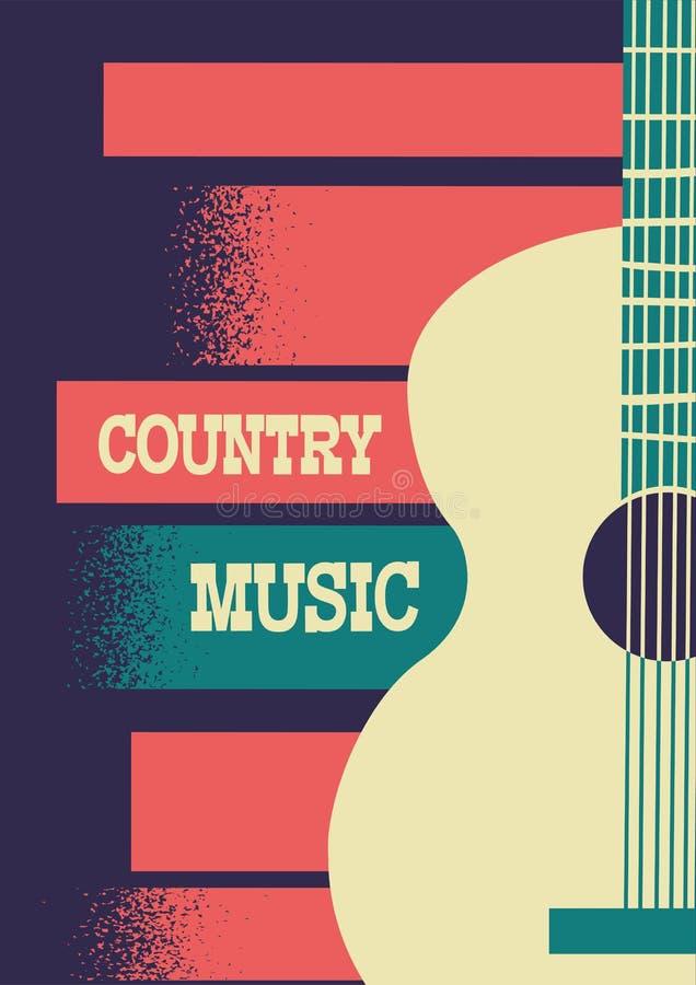 Fondo di musica country con la chitarra acustica dello strumento musicale illustrazione vettoriale
