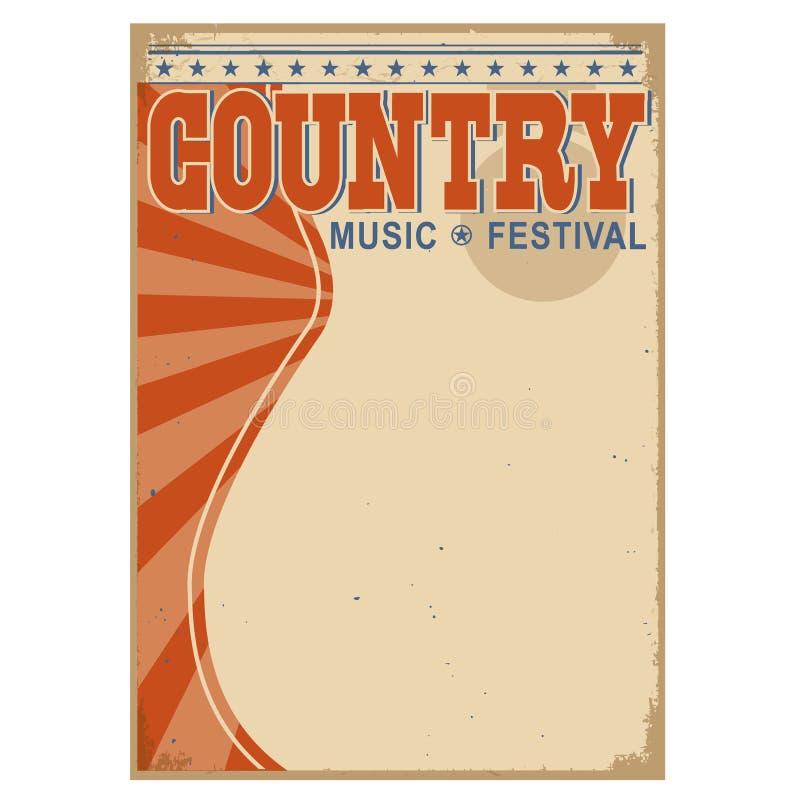 Fondo di musica country con testo Vecchio manifesto di vettore illustrazione vettoriale