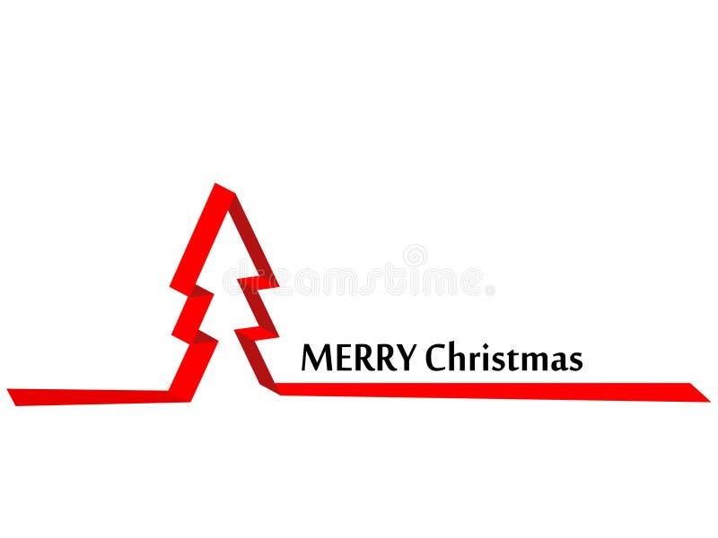 Fondo di Natale, albero del nastro rosso illustrazione di stock