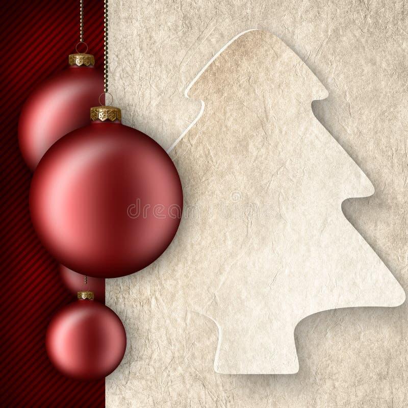 Fondo di Natale - bagattelle, forma dell'albero e pappa in bianco royalty illustrazione gratis