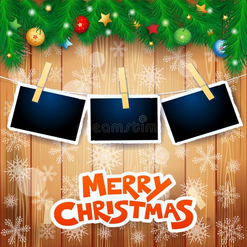 Fondo di Natale con abete, le strutture della foto ed il testo royalty illustrazione gratis
