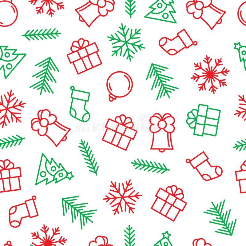 Fondo di Natale con gli elementi del profilo nei colori verdi e rossi illustrazione vettoriale