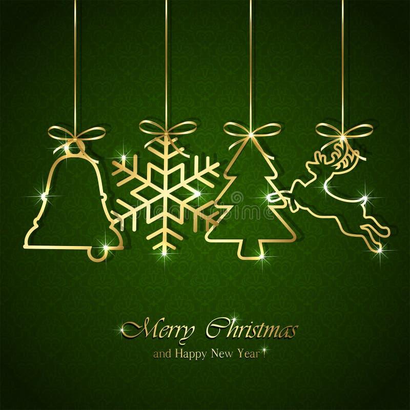 Fondo di Natale con gli elementi dorati illustrazione vettoriale