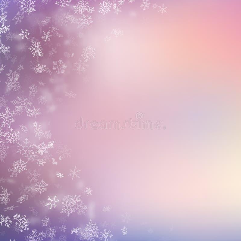 Fondo di Natale con i bei fiocchi di neve di caduta realistici ENV 10 illustrazione di stock