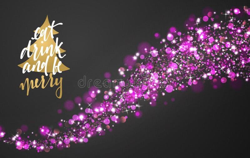 Fondo di Natale con i coriandoli realistici luminosi di scintillio delle stelle royalty illustrazione gratis