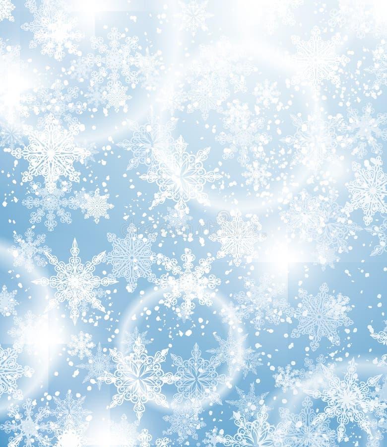 Fondo di Natale con i fiocchi di neve illustrazione di stock