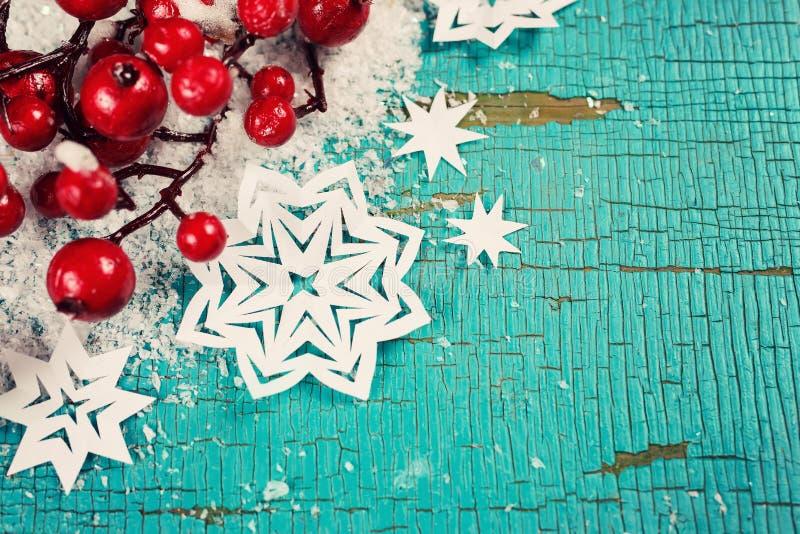Fondo di Natale con i fiocchi di neve fotografia stock