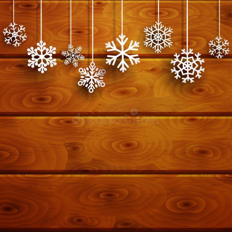 Fondo di Natale con i fiocchi di neve d'attaccatura sulle plance di legno illustrazione di stock